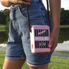 "Cute Pink Milk Box Crossbody Bag ❗️AVAILABLE❗Handbag size: mini(<20cm) • Size(cm)(L*W*H): 8.5*8.5*17 • Strap length: 100cm • model is 5""5 Bags Crossbody Bags"