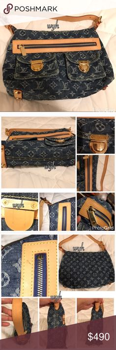 Authentic Louis Vuitton Neo Denim Shoulder Bag NO TRADE!!! PRICE FIRM!!! Authentic or MONEY BACK GUARANTEED  Louis Vuitton shoulder bag Denim PM size. This bag is in excellent condition just slightly used just has little flaws such as just little patina on handle, little penmark inside but clean, outside just penmark stain on vachetta leather. Nothing major like rip or tears. It don't come with dustbag but comes with small booklet authenticity cards. No low ballers, thanks! Louis Vuitton…