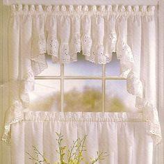 Country Kitchen Curtains, Kitchen Window Valances, Shabby Chic Kitchen, Elegant Curtains, Beautiful Curtains, Swag Curtains, Window Curtains, Curtain Valances, Cream Curtains