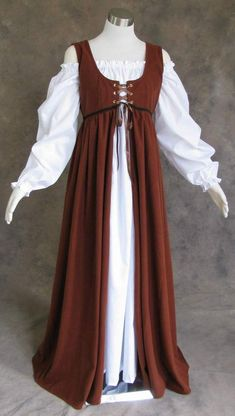 Renaissance Ren Faire Medieval Gown Dress and Chemise LOTR SCA Costume BROWN S #Artemisia