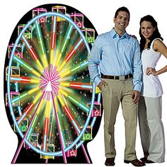 This Carnival Ferris Wheel Standee resembles a fun fair ride with neon lights that give a vibrant glow.