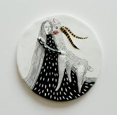 Air dry clay wall art  Girl and DeerFriendship by kucukbakkal, $55.00