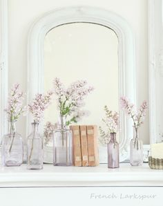French Larkspur-love the pale lavender bottles against white and of course the lilacs