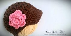 Crochet Baby Girl Hat, Brown Newsgirl Baby Hat with Pink Flower ,Newborn Photo Prop, Fall. $18.00, via Etsy.