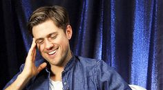 And smiled all sweetly like this. | The 42 Most Seductively Charming Aaron Tveit Moments Of All Time