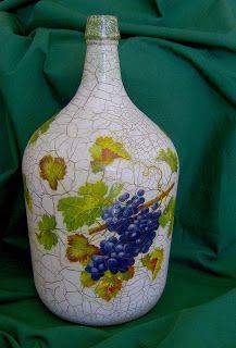 Atelier Arte e Lazer: Passo a passo - Decoração de um velho garrafão