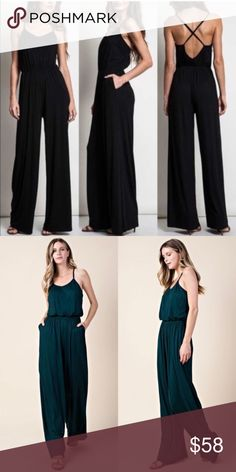 72954ab9926 LAST    BLACK Sleeveless Wide Leg Jumpsuit