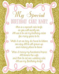 Pink And Gold Glitter Girly Baby Shower Birthday Cake Knife Poem Sign DIY Digital File