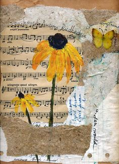 Mixed media - acrylics on a collage of handmade and upcycled papers and old sheet music and daisy flowers