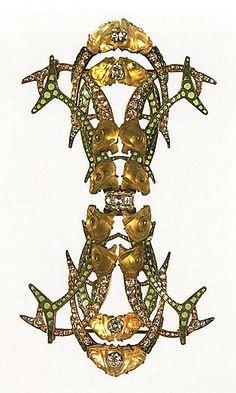 Lalique - 1905 Fish Head Brooch. Gold, enamel, diamonds, glass. L. 4-7/8, W. 2-3/4 in