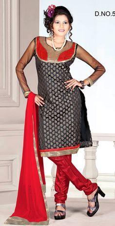Black And Red Color Pure Cotton Churidar Designer Kameez, Save: 5% off