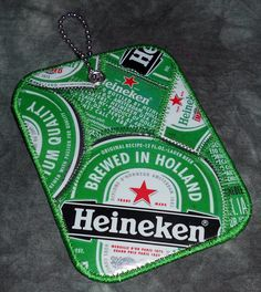 Luggage Tag from Recycled Heineken Beer Labels by squigglechick, $12.00