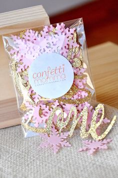 """Winter Onederland Party Decorations - Pink and Gold Party Decorations - """"One"""" and Snowflake Confetti Mix by courtneyorillion on Etsy https://www.etsy.com/listing/215181394/winter-onederland-party-decorations-pink"""
