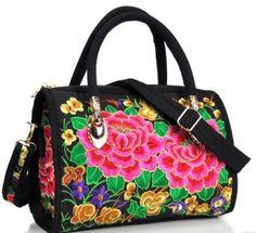 Women's Canvas Floral Embroidered Multi Function Handbag Versatile Casual Shoulder Bag Large Capacity Messenger Bag Hot Selling