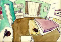 #watercolour#illustration #room #fisheye