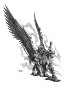 Grey Ink Warrior With Wings And Sword Tattoo Design By Loren Fetterman