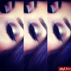 Golden dark eye makeup and winged liner