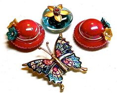 Colorful Butterfly Red Hat Flower Whimsical Bling Up cycled OOAK Fridge Magnets for Home Decor by PAVACreations on Etsy