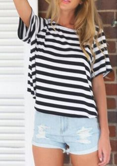Striped Open Back T-Shirt