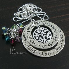 Personalized hand stamped necklacefamily tree by JBExclusives, $56.00
