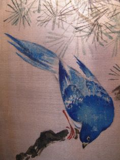 85: JAPANESE WATERCOLOR PAINTING ON GOLD SILK BIRD : Lot 85