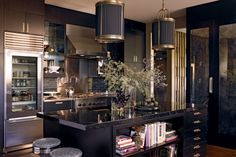 A cool city kitchen for the kind of person that only makes tea! Looks more like a dressing room! LOVE IT