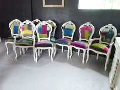 Shabby Chic Italian Louis Style Dining Chairs Designers Guild Patchwork Fabric   eBay