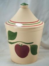 Mouse over image to zoom Have one to sell? Sell it yourself Watt Pottery #91 Apple Dome Top Canister Cookie Jar Rare HTF
