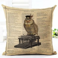 New Arrival Throw Pillow Cushion Home Decor Couch Newspaper With Owl Printed Linen Cuscino Square Cojines Almohadas Dog Pillow Bed, Couch Pillows, Throw Pillows, Rustic Decorative Pillows, Decorative Pillow Cases, Vintage Design, Rustic Design, Cushion Covers, Pillow Covers