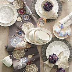 Pier One    ON SALE     Embroidered and appliqued roses explode in spectacular fashion on a neutral background. Dress up your entryway, console or dining table with this fabulous floral table runner.