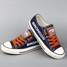 Stand out from the crowd with Denver Broncos team spirit in these adorable Converse style sneakers that have handmade Denver Broncos designs. Denver Broncos Funny, Denver Broncos Players, Denver Broncos Womens, Denver Bronco Cheerleaders, Broncos Gear, Denver Broncos Football, Broncos Fans, Cincinnati Bengals, Denver Broncos Shoes