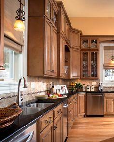 Waypoint Living Spaces | Style 610D in Maple  Mocha Glaze Brown Kitchens, Cool Kitchens, Maple Kitchen Cabinets, Kitchen And Bath, Kitchen Redo, Kitchen Remodel, New Kitchen, Kitchen Ideas, Home Design