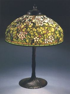 Tiffany Studios, A Rare Cherry Blossom Leaded Glass And Bronze Table Lamp Stained Glass Light, Tiffany Stained Glass, Tiffany Glass, Antique Lamps, Vintage Lamps, Brass Lamp, Pendant Lamps, Pendant Lights, Shabby Chic Lamps