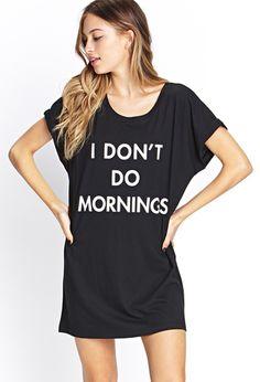 """Nachthemd """"I Don't Do Mornings"""" - Lingerie & Nachtwäsche - 2000123308 - Forever 21 EU"""