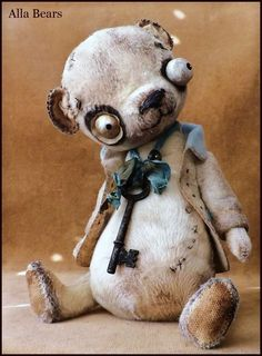 READY to SHIP Alla Bears artist man cave art toy office decor scary SteamPunk Scary Teddy Bear, Cute Teddy Bears, Creepy Toys, Creepy Cute, Zombie Silhouette, Creepy Stuffed Animals, Teady Bear, Creepy Halloween Decorations, Man Cave Art
