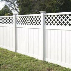 Veranda Yellowstone 6 ft. x 8 ft. White Vinyl Lattice Top Fence Panel Kit-73006453 - The Home Depot, $119/panel