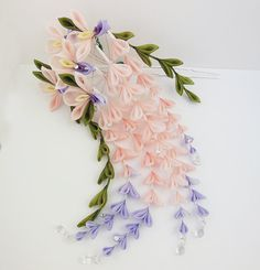 Weeping Peach and Purple Fuji Wisteria Tsumami Kanzashi by HanamiGallery
