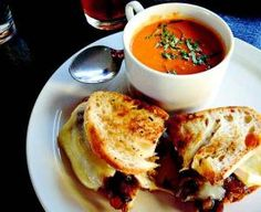 Fort Collins Restaurant 415 -- this looks like a Reuben w. pimiento-tomato soup.