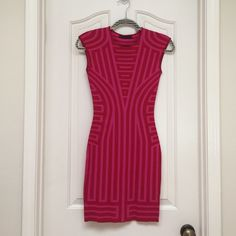 Sexy dress! Hot and sexy dress! Form fitting! Pink and red! Length is 32 inches and bust is 13 inches! Xsmall RVN Dresses