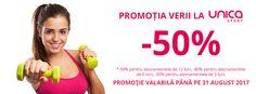 Unica Sport Romania lanseaza promotia de vara!  http://promotii.unicasport.ro/reduceri-contract/  Cumpara-ti abonamentul pana pe 31 august 2017 si beneficiaza de discounturi de pana la 50%*!  *-50% reducere pentru abonamentele de 12 luni, -40% reducere pentru abonamentele de 6 luni, -30% reducere pentru abonamentele de 3 luni  Detalii suplimentare la 0740406090 / office@unicasport.ro.