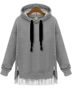 Hooded Zipper Loose Grey Sweatshirt