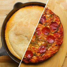 Upside Down One Pan Pizza Recipe by Tasty Pizza Recipes, Cooking Recipes, Skillet Recipes, Pastry Recipes, Potato Recipes, Bread Recipes, Upside Down Pizza, Deep Dish Pizza Recipe, Healthy Snacks