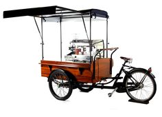 Coffee cart - - part of our project Mobile Coffee Cart, Mobile Coffee Shop, Coffee Carts, Coffee Truck, Bike Coffee, Food Cart Design, Food Truck Design, Microcar, Vendor Cart
