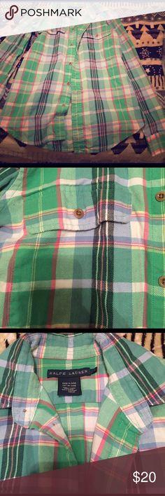 Ralph Lauren flannel shirt Green and pink Ralph Lauren flannel shirt Ralph Lauren Tops Button Down Shirts