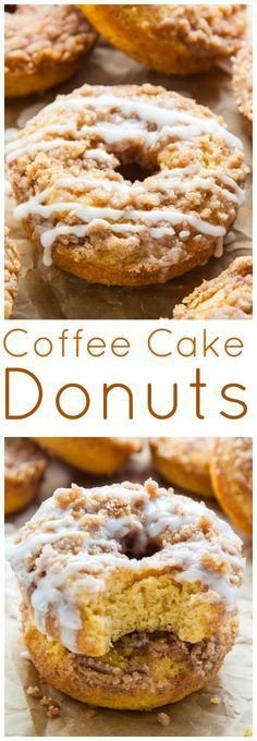 Baked not fried these Coffee Cake Donuts are ready in less than 30 minutes. The Vanilla Glaze makes them irresistible! Baked not fried these Coffee Cake Donuts are ready in less than 30 minutes. The Vanilla Glaze makes them irresistible! Just Desserts, Delicious Desserts, Dessert Recipes, Yummy Food, Delicious Donuts, Vanilla Desserts, Tasty, Fun Baking Recipes, Baking Ideas