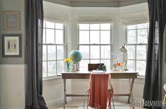 Put the desk in front of the window; love the gray, orange, dee, globe Bay Window Bedroom, Window Desk, Bay Window Living Room, Desk In Living Room, Bedroom Desk, Apartment Desk, Apartment Living, Guest Room Office, Home Office Decor