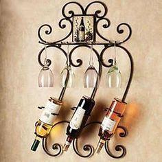 parede de metal arte do ferro decoração da parede cremalheira do vinho arte da parede de duas cores de parede opcional decoração – BRL R$ 136,77
