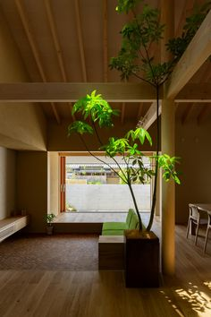 hearth architects has topped this family house in hikone, japan, with a gabled roof whose extended eaves create a sheltered veranda.