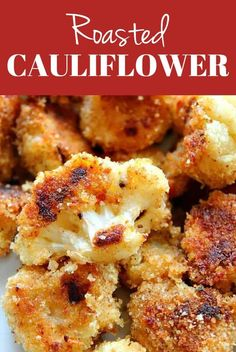 Roasted Garlic Parmesan Cauliflower Recipe - crispy cauliflower bites with garlic Parmesan breading, baked in the oven instead of fried. So tasty! #cauliflower #sidedish #vegetables