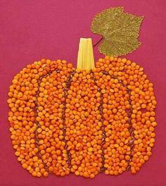 Pumpkin Bean and Seed Craft Autumn Crafts, Fall Crafts For Kids, Autumn Art, Nature Crafts, Thanksgiving Crafts, Toddler Crafts, Preschool Crafts, Diy For Kids, Holiday Crafts